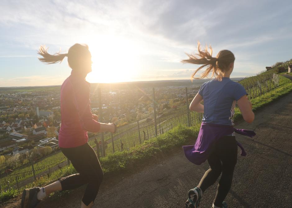 Junge Menschen joggen im Weinberg