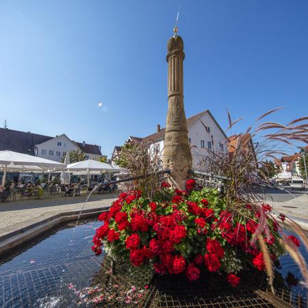 Marktplatz Brunnen mit rotem Blumenschmuck