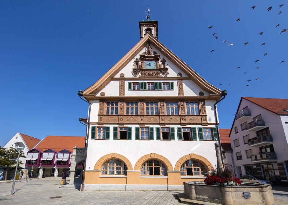 Altes Rathaus mit Fachwerk und Marktbrunnen