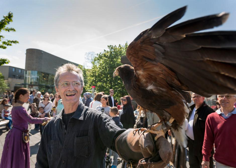 Veranstaltung in Metzingen mit einem Falkner